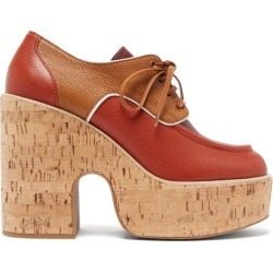 Miu Miu - Grained-leather And Cork Platform Brogues - Womens - Red found on Bargain Bro UK from Matches UK