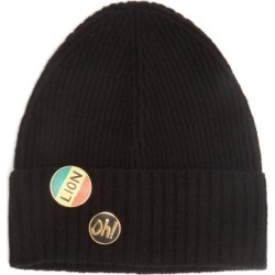 Bella Freud - Pin-embellished Wool Beanie Hat - Womens - Black found on MODAPINS from MATCHESFASHION.COM - AU for USD $87.16