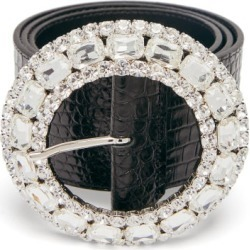 Alessandra Rich - Crystal-buckle Crocodile-effect Leather Belt - Womens - Black found on MODAPINS from Matches Global for USD $384.00