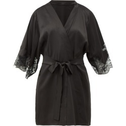 Fleur Of England - Lace-insert Silk-blend Robe - Womens - Black found on Bargain Bro India from Matches Global for $480.00