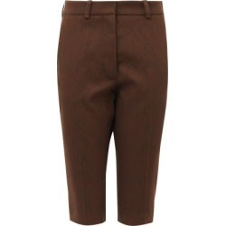 Marine Serre - Crescent Moon-jacquard Wool-blend Shorts - Womens - Brown found on MODAPINS from Matches Global for USD $298.00