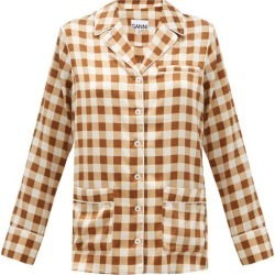 Ganni - Gingham Silk-blend Satin Shirt - Womens - Brown Multi found on MODAPINS from Matches Global for USD $425.00