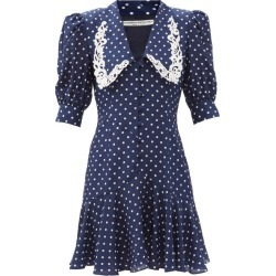 Alessandra Rich - Peter Pan-collar Polka-dot Silk Dress - Womens - Navy found on MODAPINS from Matches Global for USD $1565.00