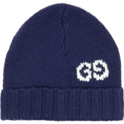 Gucci - GG Jacquard-logo Wool Beanie Hat - Mens - Blue found on Bargain Bro UK from Matches UK