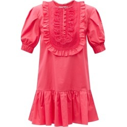Self-portrait - Lace-bib Puff-sleeve Poplin Dress - Womens - Pink found on Bargain Bro India from MATCHESFASHION.COM - AU for $435.82