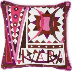 Emilio Pucci - Vivara-print Cotton-terry Cushion - Womens - Dark Pink found on MODAPINS from Matches Global for USD $310.00