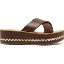 Ancient Greek Sandals - Thais Leather Platform Sandals - Womens - Dark Brown found on MODAPINS from Matches Global for USD $395.00