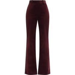 Bella Freud - David High-rise Cotton-corduroy Wide-leg Trousers - Womens - Burgundy found on MODAPINS from MATCHESFASHION.COM - AU for USD $379.50