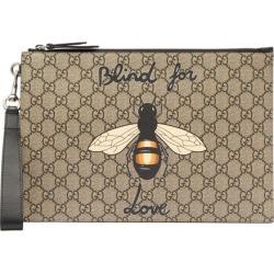 5cf2fc01aebf Gucci - Bee Print Gg Supreme Canvas Pouch - Mens - Brown Multi found on  MODAPINS