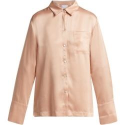 Asceno - Patch Pocket Sandwashed Silk Pyjama Shirt - Womens - Light Pink found on MODAPINS from MATCHESFASHION.COM - AU for USD $197.38