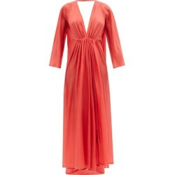 Kalita - Robe longue en soie habotai à fronces Clemence found on MODAPINS from matchesfashion.com fr for USD $1168.70