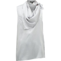 Ann Demeulemeester - Knotted Handkerchief-neck Silk-satin Top - Womens - Light Blue found on MODAPINS from Matches Global for USD $368.00