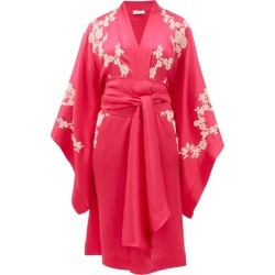 Carine Gilson - Lace-appliqué Silk-charmeuse Robe - Womens - Pink Multi found on Bargain Bro India from Matches Global for $1753.00