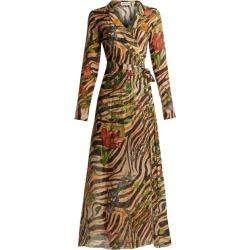 Adriana Iglesias - Beverly Zebra Print Silk Chiffon Dress - Womens - Brown Multi found on MODAPINS from MATCHESFASHION.COM - AU for USD $1075.54