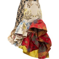 Marques'almeida - Ruffled Patchwork-jacquard Upcycled-satin Skirt - Womens - Red Multi found on MODAPINS from MATCHESFASHION.COM - AU for USD $421.76