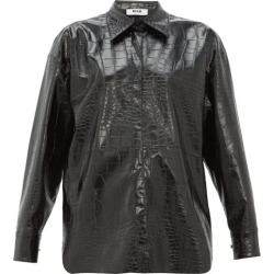 MSGM - Crocodile-effect Faux-leather Shirt - Womens - Black found on Bargain Bro UK from Matches UK