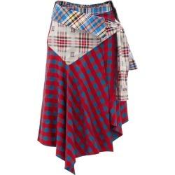 Marques'almeida - Upcycled Asymmetric Cotton Midi Skirt - Womens - Multi found on MODAPINS from MATCHESFASHION.COM - AU for USD $225.84