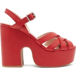 Miu Miu - Crossover-strap Platform Leather Sandals - Womens - Red found on Bargain Bro UK from Matches UK