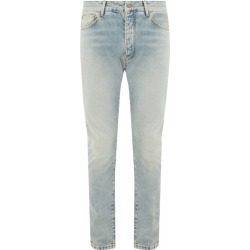 Palm Angels - Logo-print Distressed Slim-fit Jeans - Mens - Light Blue found on MODAPINS from Matches Global for USD $295.00