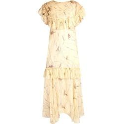 Marni - Bird-print Raw-edge Ruffled Silk Dress - Womens - Yellow Multi found on Bargain Bro UK from Matches UK