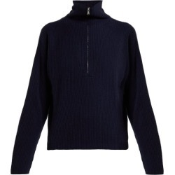 Allude - Half Zip Ribbed Cashmere Sweater - Womens - Dark Navy found on MODAPINS from Matches Global for USD $456.00
