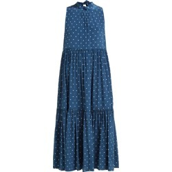 Asceno - Polka Dot Tiered Silk Crepe Midi Dress - Womens - Navy found on MODAPINS from MATCHESFASHION.COM - AU for USD $505.48