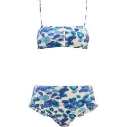 Adriana Degreas - High-rise Lotus-print Bikini - Womens - Blue Print found on MODAPINS from Matches Global for USD $180.00