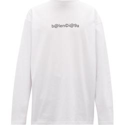 Balenciaga - Oversized Logo-print Cotton Long-sleeved T-shirt - Mens - White Black found on Bargain Bro UK from Matches UK