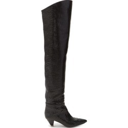 Attico - Crocodile Effect Leather Over The Knee Boots - Womens - Black found on MODAPINS from MATCHESFASHION.COM - AU for USD $1289.63