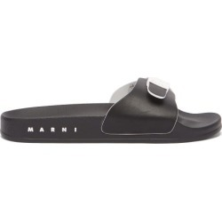Marni - Buckle-strap Faux-leather Slides - Womens - Black White found on Bargain Bro UK from Matches UK