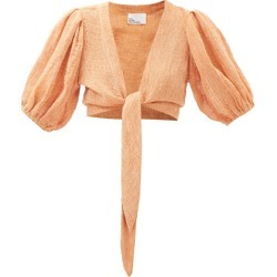Lisa Marie Fernandez - Pouf Puff-sleeved Cropped Linen-blend Blouse - Womens - Orange found on MODAPINS from Matches UK for USD $501.82