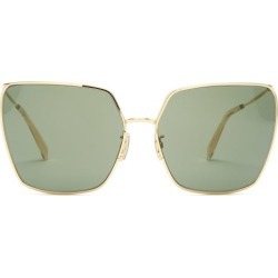 Celine Eyewear - Butterfly Square Metal Sunglasses - Womens - Green Gold found on Bargain Bro UK from Matches UK