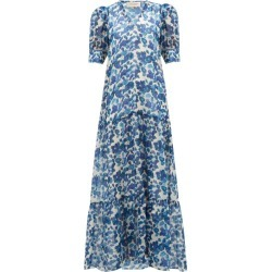 Adriana Degreas - Lotus-print Chiffon Dress - Womens - Blue Print found on MODAPINS from Matches UK for USD $528.33