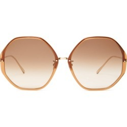 Linda Farrow - Oversized Heptagonal Acetate Sunglasses - Womens - Brown found on MODAPINS from Matches UK for USD $692.65