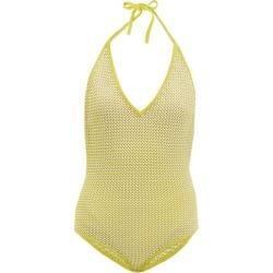 Bottega Veneta - Halterneck Cotton-blend Fishnet Bodysuit - Womens - Yellow Multi found on Bargain Bro UK from Matches UK