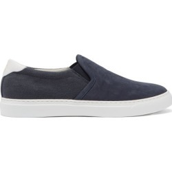 Brunello Cucinelli - Slip-on Canvas And Suede Trainers - Mens - Blue found on Bargain Bro UK from Matches UK