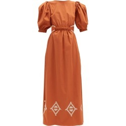 Johanna Ortiz - Smell Of Almond Embroidered Cotton-blend Dress - Womens - Orange found on MODAPINS from MATCHESFASHION.COM - AU for USD $1053.96