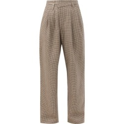 Brunello Cucinelli - Asymmetric-waist Checked Linen-blend Trousers - Womens - Beige Multi found on MODAPINS from Matches Global for USD $778.00