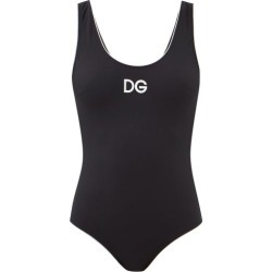 Dolce & Gabbana - Logo-embroidered Scoop-back Swimsuit - Womens - Black found on Bargain Bro UK from Matches UK