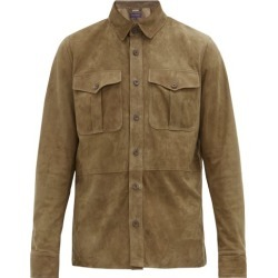 Ralph Lauren Purple Label - Panelled Suede Overshirt - Mens - Brown found on Bargain Bro UK from Matches UK