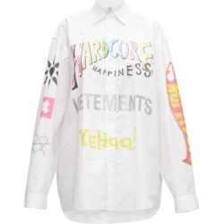 Vetements - Oversized Printed Cotton-poplin Shirt - Womens - White Multi found on MODAPINS from Matches Global for USD $666.00