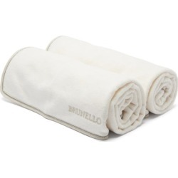 Brunello Cucinelli - Set Of Two Logo-embroidered Cotton Hand Towels - White Multi found on Bargain Bro UK from Matches UK
