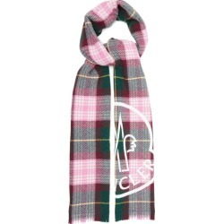 Moncler - Logo-print Checked Wool-blend Scarf - Womens - Pink found on Bargain Bro India from Matches Global for $370.00