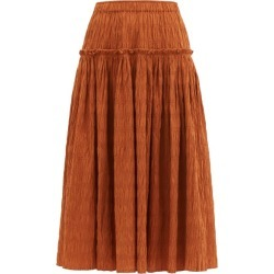 Mara Hoffman - Alejandra Shirred Organic Cotton-blend Skirt - Womens - Rust Copper found on MODAPINS from Matches UK for USD $473.55