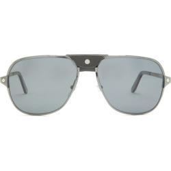 Cartier Eyewear - Santos De Cartier Aviator Metal Sunglasses - Mens - Black found on MODAPINS from MATCHESFASHION.COM - AU for USD $932.47