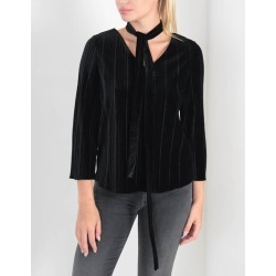 Armani Jeans Tie Neck Ribbed Velvet Top Colour: Black found on MODAPINS from Atterley for USD $54.73