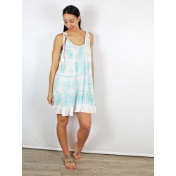 Pranella Embroidered Slip Beach Dress White & Blue found on MODAPINS from Atterley for USD $135.82