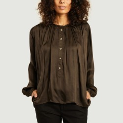 Cake Plain satin blouse Chocolate Leon - Harper found on MODAPINS from Atterley for USD $202.82