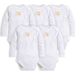 Burt's Bees Baby® 5-Pack Organic Cotton Long Sleeve Bodysuit in Cloud found on Bargain Bro from  for $22.99