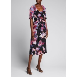 Watercolor Floral-Print Belted Silk Midi Dress found on MODAPINS from Bergdorf Goodman for USD $1595.00